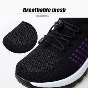 Image 3 - 2019 봄 여성 경량 운동화 레이스 업 웨지 플랫폼 양말 신발 여성 통기성 메쉬 Tenis Sapatos Feminino 1855