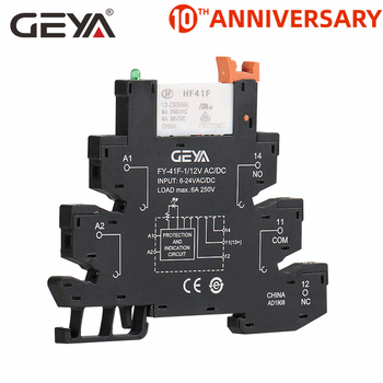 GEYA Slim Relay Module Protection Circuit 6A Relay 12VDC/AC or 24VDC/AC OR 230VAC Relay Socket 6.2mm thickness ad78s electrical relay used for protection relay over current relay overload relay