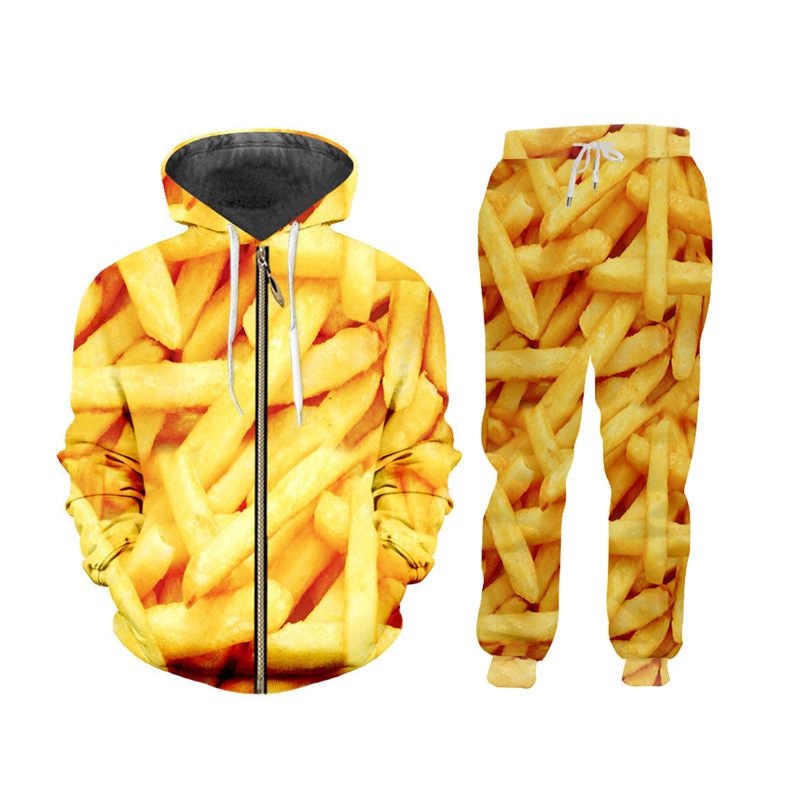 Luxury 3d Gold French Fries Print Sportswear Mens Set Fall Winter Zip Up Hoodies Sweatshirt Joggers Pants 2Pcs Suit Custom S-6XL