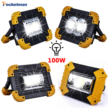 100W Portable Spotlight USB Led Work Lamp Worklight Flashlight Rechargeable 18650 Battery Outdoor Camping Emergency Light led work light portable spotlight 100w led work lamp rechargeable waterproof light for outdoor working camping 18650
