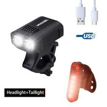 Lámpara de bicicleta recargable por USB, con 5 modos de luz y batería integrada para ciclismo de montaña y nocturno