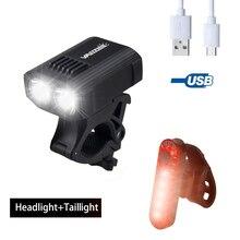 Wasserdichte USB Aufladbare Fahrrad Licht 5 Licht Modi MTB Radfahren Licht Gebaut In Batterie Fahrrad Lampe für Sicherheit Nacht radfahren
