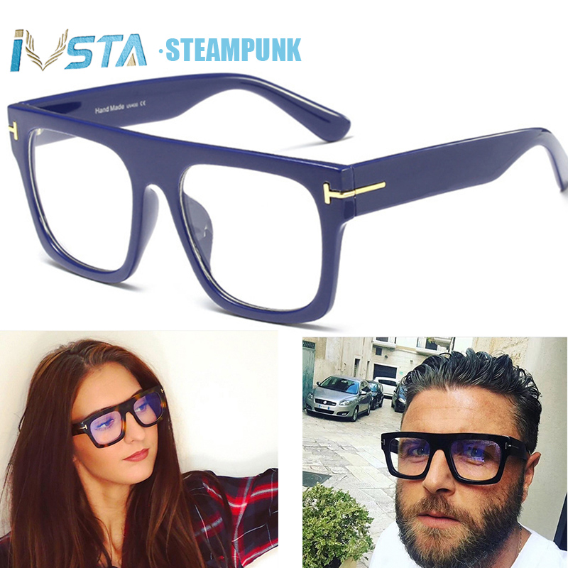 IVSTA Tom TF Brand Design Oversized Glasses Frame Men Steampunk Big Myopia Women Transparent Nerd Spectacles Computer Luxury