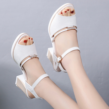 Roman Sandals Pink White Summer Women Ladies Shoes Square Open-Toe Thick-Soled Hollow
