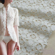 DIY Ivory White Cotton Openwork Embroidery Lace Fabric Skin-friendly Soft Summer Dress Dot Lace Fabric RS497(China)