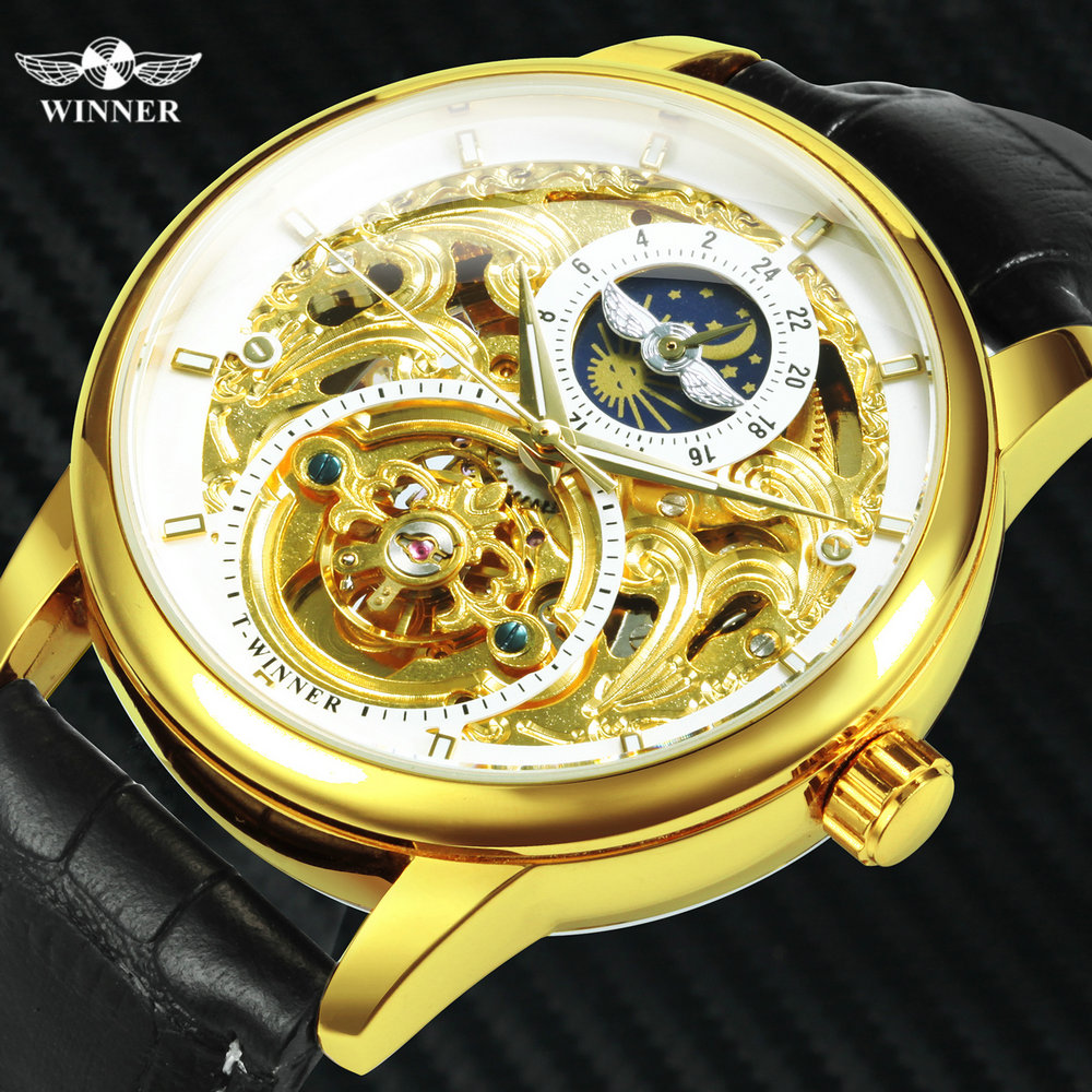 WINNER Official Top Brand Luxury Watch Men Automatic Mechanical Watches Skeleton Dress Fashion Leather Strap Wristwatches