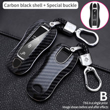 Car Key Case Cover Shell Carbon Fiber Chrome Color For Porsche Cayenne Macan 911 Boxster Cayman Panamera Accessories Keychain
