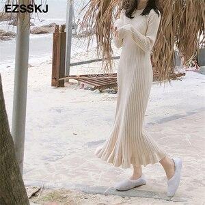 Image 5 - 2020 thu đông dày nàng tiên cá maxi áo len Đầm nữ cổ tròn dài áo len Đầm nữ chữ A sexy chằn