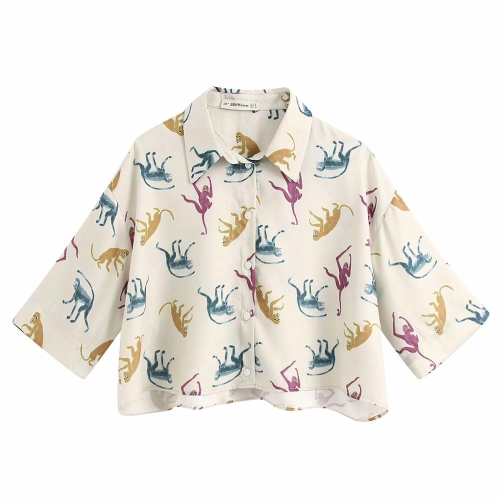 Women Turn Down Collar Colorful Monkeys Print Casual Smock Blouse Ladies Chic Kimono Style Chemise Femininas Shirts Tops LS6371