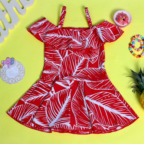 Place Of Origin Supply Of Goods South Korea KID'S Swimwear Floral-Print CHILDREN'S Dress Bathing Suit Off-Shoulder One-piece KID
