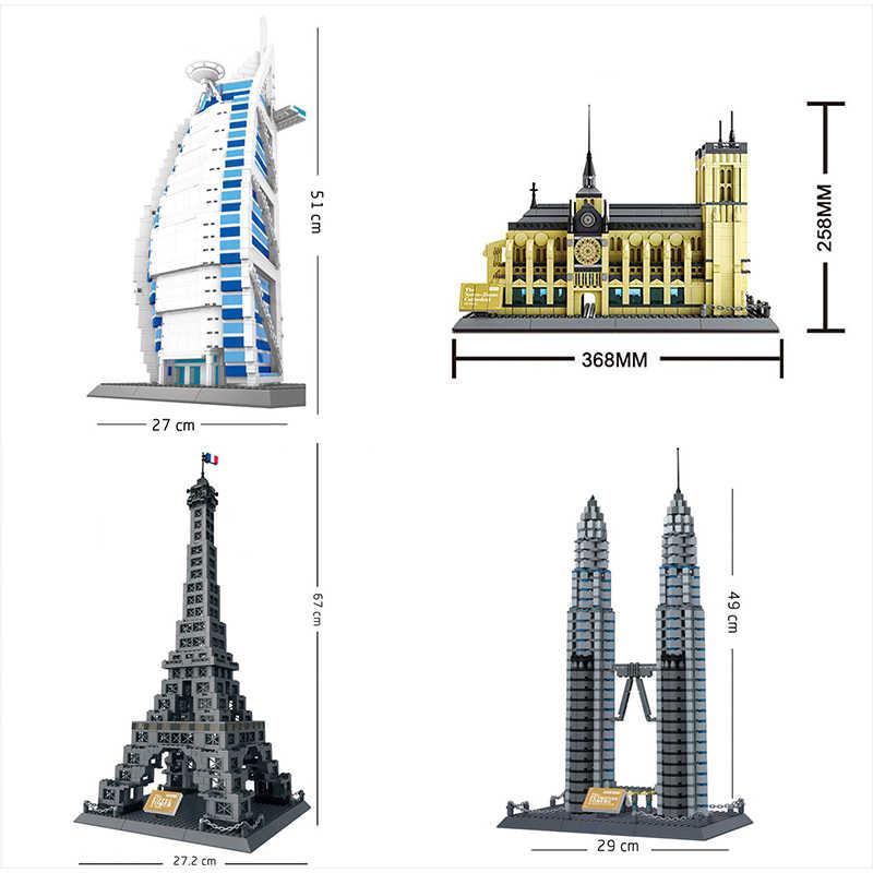 Ciudad 2020 Compatible Lepinblock arquitectura Taj Mahal Londres París Ciudad puente bloques de construcción niños ensamblar ladrillos Juguetes