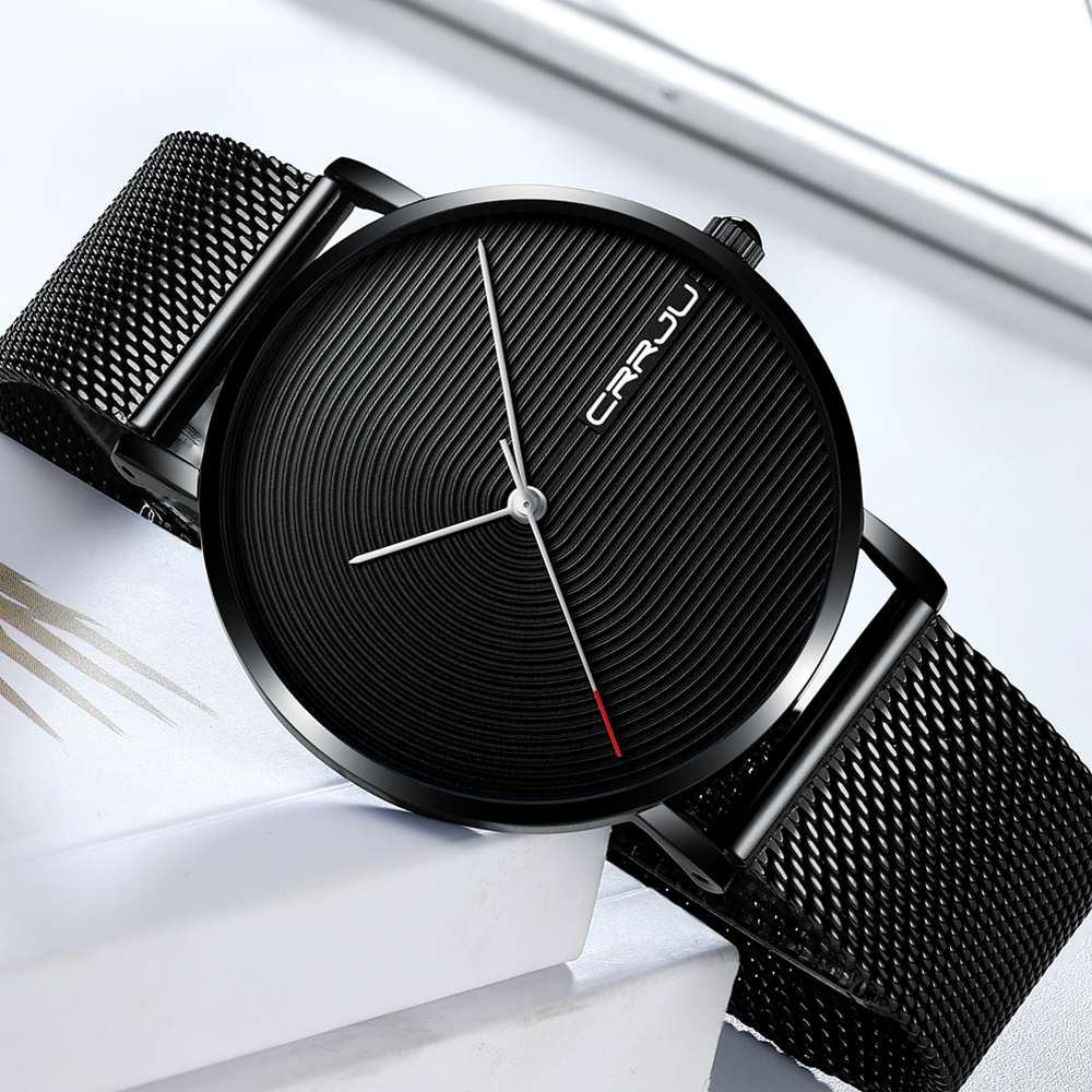 Men Watches Men's Quartz Wristwatches Male Clock CRRJU Top Brand Luxury Relogio Masculino Wrist Watches Meski For Sports