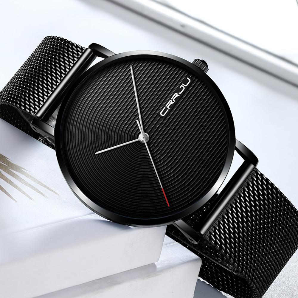 Men Watches Men's Quartz Wristwatches Male Clock CRRJU Top Brand Luxury Relogio Masculino Wrist Watches Meski For Sports