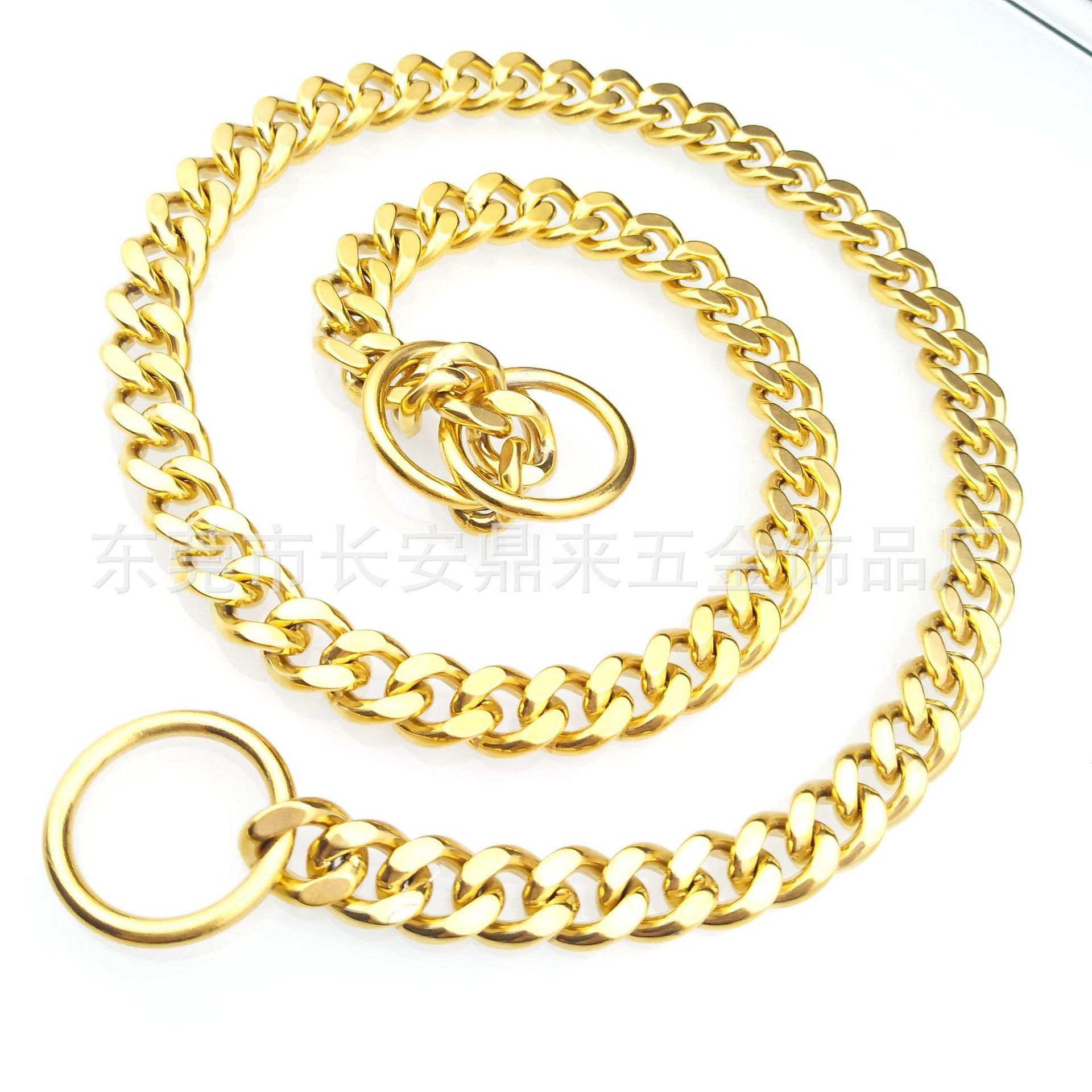 Hot Sales Pet Supplies Stainless Steel Dog Pendant Gold Neck Ring Automatic Telescopic P Pendant Two-sided Grinding