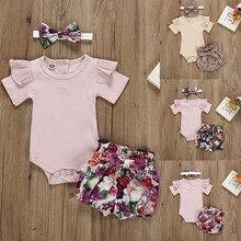 Новинка лета 2021, наряды для новорожденных, одежда для маленьких девочек, комбинезон + шорты с цветочным принтом, модная детская одежда, одежд...