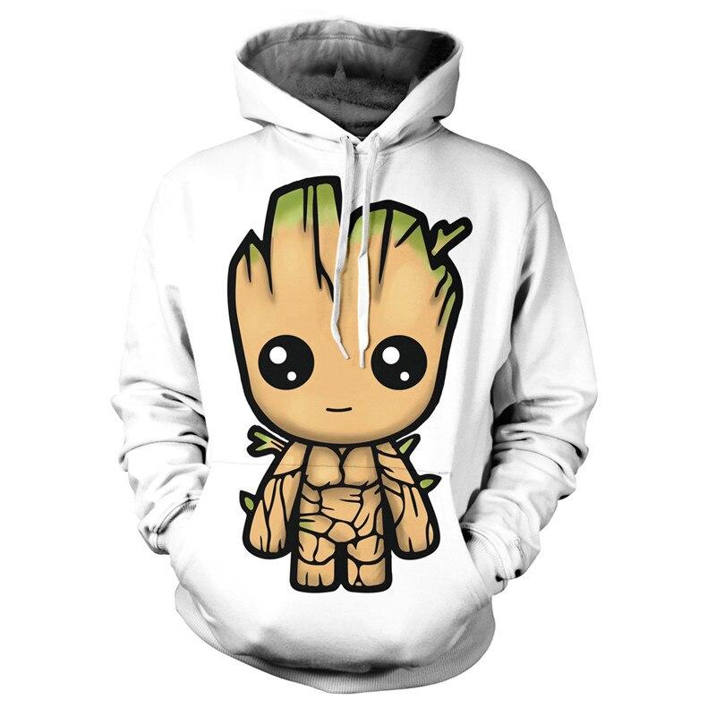 Anime Superhero Groot Movie Hoodies 3D Print Men Women White Couple  Hooded Sweatshirts Hip Hop Pullover Pocket Jackets