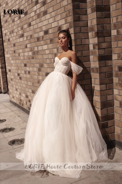 Lorie princesa vestidos de casamento querida puff manga móvel praia vestido de noiva fora do ombro rendas até voltar boho vestidos de casamento 2