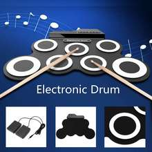 Pad Drum-Sticks Foot-Pedal Roll-Up Electronic-Drum-Kits MIDI Musical-Instruments Digital