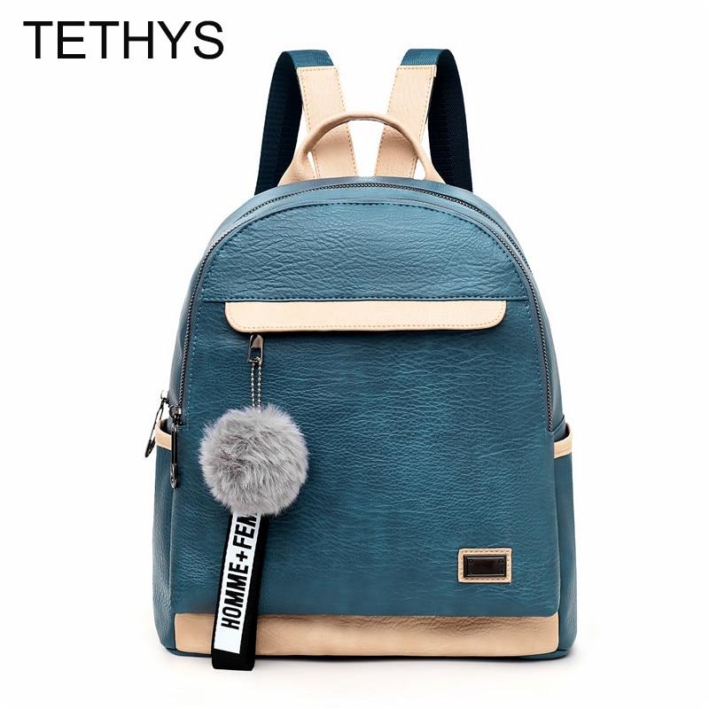 TETHYS 2019 New Vintage Backpack Women High Quality Leather Backpack Female Large Capacity Backpacks Bag For Teenage Girls Sac