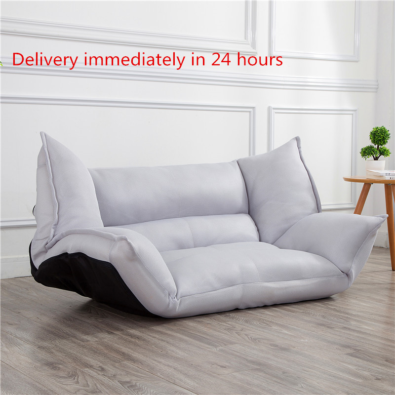 Adjustable Folding Convertible Sofa Floor Chair Lounger Bed w/ Armrests For Leisure Home or Office Furniture Daybed Sleeper image