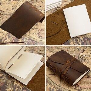 Image 3 - Caderno de couro genuíno artesanal diário 5x7 polegadas papel environmetal vintage caderno encadernação diário para homem e mulher