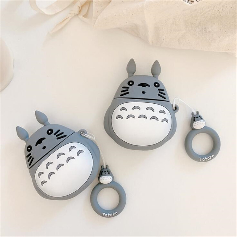 Cartoon Anime Tonari No Totoro Periphery Bluetooth Earphone Airpods Silicone Case No Face Man Headphone Protective Sleeve Gift