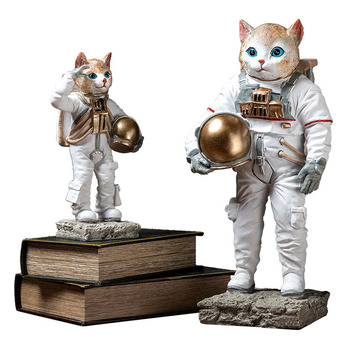Nordic Creative Space Cat Astronaut Crafts Resin Ornaments Home Decoration Living Room TV Cabinet Decoration Figurines Kids Toys