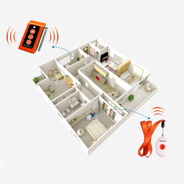 SINGCALL Wireless Medical Call Button System. Pager Service, Smart Caregiver Two Call Buttons & Caregiver Pager Nurse Alarm 3