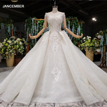 HTL990 koronkowa suknia ślubna w sukienkach ślubnych o neck krótki rękaw koralik suknie ślubne z ogonem illusion powrót vestidos de noivas