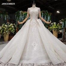 Robe de mariée en dentelle, robe de mariée, à manches courtes, col rond, dos avec perles, illusion, HTL990