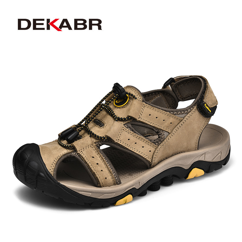 DEKABR Men Shoes Close Toe Summer Beach Leather Sandals Platform Flat Outdoor Comfort Casual Walking Male Shoes Big Size 46