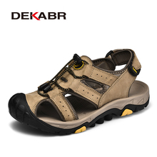 DEKABR Men Shoes Close Toe Summer Beach Leather Sandals Platform Flat Outdoor Comfort Casual Walking Male Shoes Big Size 46