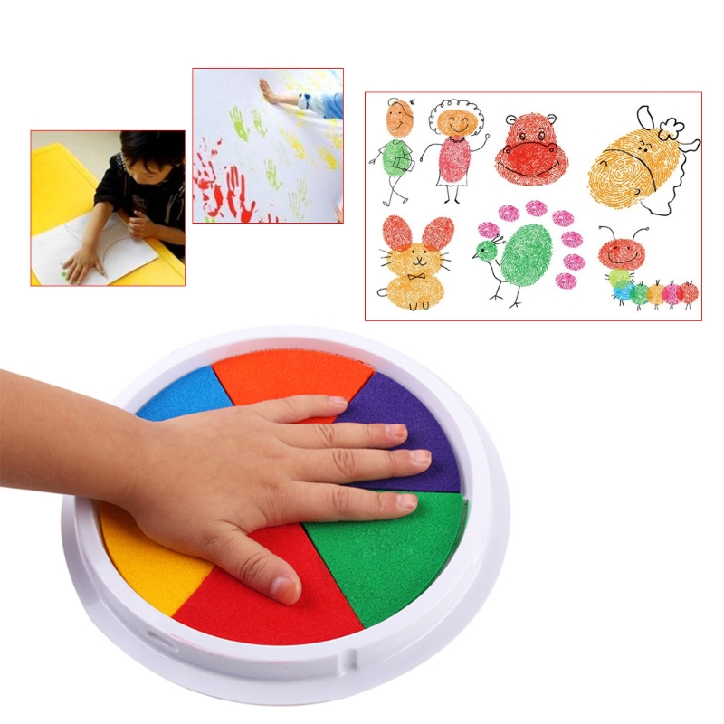 6 Colors Ink Pad Stamp DIY Finger Painting Craft Cardmaking Large Round For Kids H7EC