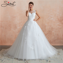 SERMENT Luxury Lace Wedding Dress Back Zipper Sleeveless White Style Embroidery Flower Neck Line Free Custom Made