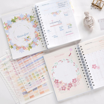 2020 Planner Coil NoteBook A5 Kawaii Palnner Book Bullet Journal Diary Annual Month Week Plan Cartoon Flower Journal Notebook 1
