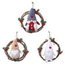 2019Merry Christmas Ornaments Festival Gift Plush Gnome Rattan Garland Wreath Tree Toy Doll Hang Decorations