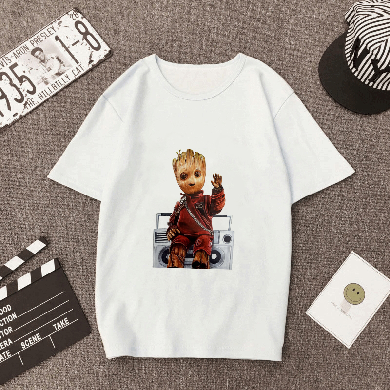 Showtly Funny Cool  Groot  Men/Women Clothing Tshirt Harajuku Streetwear Fashion Wind Carton Round Neck Men's T-shirt