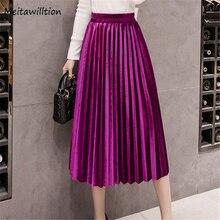 17 цветов осень зима вельветовые женские юбки женские длинные большие размеры макси юбки женские талии трапециевидные плиссированные юбки