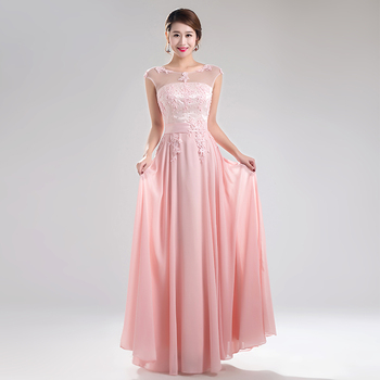 Long Evening Dresses Cheap In Stock Beaded  Floor Length Chiffon Lace Up Back Sash Prom Party Gowns Light 2020 New