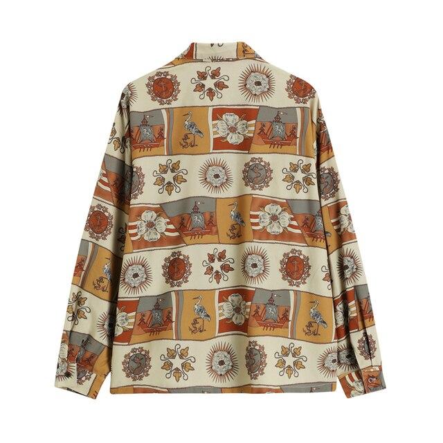 Autumn Vintage Print Shirt Women Turn Down Collar Long Sleeve Button Up Streetwear Korean Casual Loose Blouse Female Tops Blusas 2