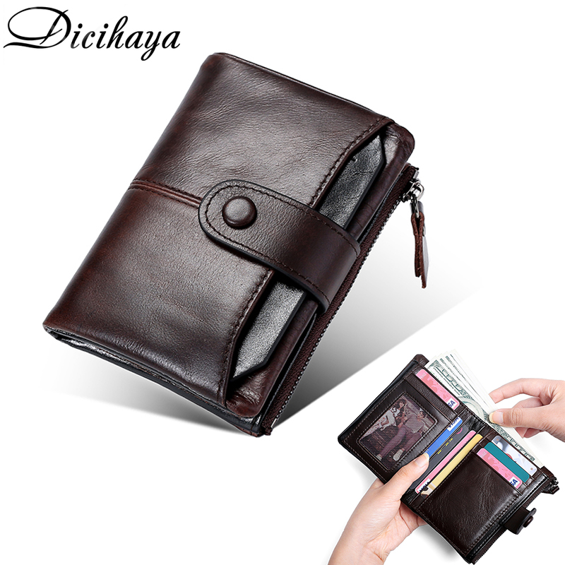 DICIHAYA New Genuine Leather Men's Short Wallet RFID Men Small Wallets Zipper Contrast Color Casual Business Card Retro Purse