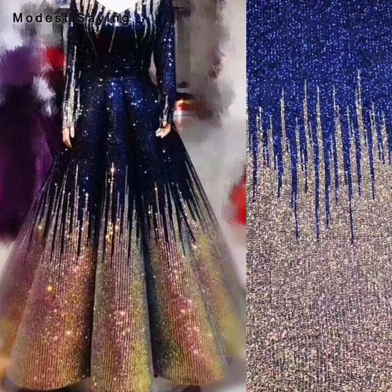 5 Yards Royal Blue Gradient Glitter Scales Sequins Fabric For Evening Wedding Dresses DIY Bling Sequins Cloth Mesh Decoration