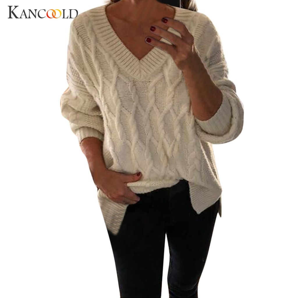 KANCOOLD Twisted Twisted V-neck Splitter Sweater Top Women's Sweater Knit Sweater Long Sleeve Loose Pullover Large Sweater