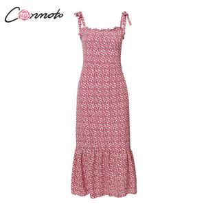 Image 5 - Conmoto 2019 Print Ruffles Mid Summer Dress Women Casual Twist Party Dress Strapless Print Beach Princess Long Dress Vestidos