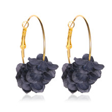 Sweet multi-layered Fashion Statement Earrings Round Ring Earrings 5 Color Rose Large Earrings fabric flowers Woman Accessories(China)