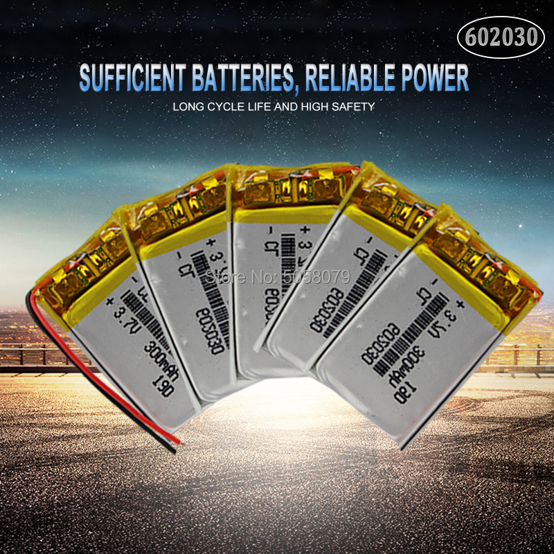 5pcs 3.7V 300mAh <font><b>602030</b></font> Lithium Polymer Li-Po Rechargeable Battery For Smart Watch PSP LED Lamp RC Helicopter image