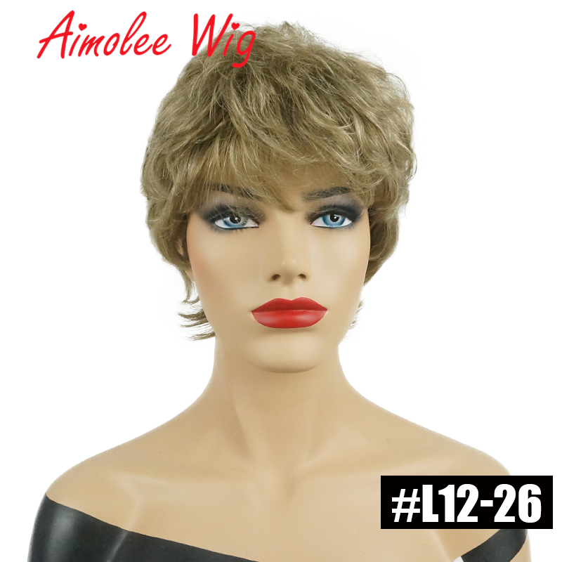 Fluffy Short Wigs Ash Gray Black Ombre Highlights Human Hair Blend Wig With Bangs for Women Synthetic Daily Work Party Wig