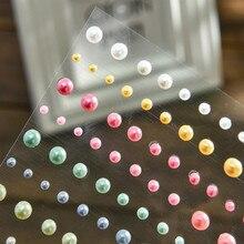 Stickers Pearl-Decoration Rhinestones Acrylic Self-Adhesive Flat-Back 80pcs Colorful