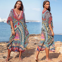 Plus Size Print Beach Dress Robe De Plage Swimsuit Cover Up Pareos De Playa Mujer Bathing Suit Cover Ups Sarong Tunic for Beach random floral print plus size beach cover up