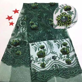 Green African Lace Fabric 3d sequins Embroidered Nigerian Guipure for Wedding High Quality French Tulle Lace Fabric FJ111